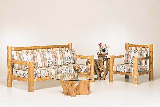 Wonderful Pine Sofa #551. Cedar Root Coffee Table #CR102 Cedar Root End Table #CR202  Pine Chair #531 Good Looking